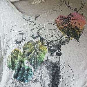 Nature Deer, Fox, and Woman Graphic T-shirt